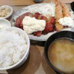 やよい軒 チキン南蛮とエビフライ定食 ご飯と漬物のおかわりは嬉しいぞ!