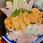 富山市 市場亭の三食丼を食べ20年前に北海道で食べたウニの美味しさを思い出した!