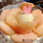 砺波市 農園カフェ 農工房 長者の桃パフェ!1年分のももを食べた気分!